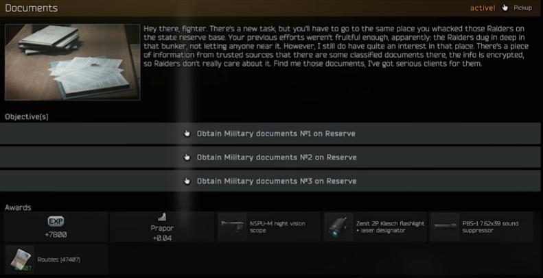 "<span class=""title"">【Game】タルコフ Praporのタスク「Documents」について【Escape From Tarkov】</span>"